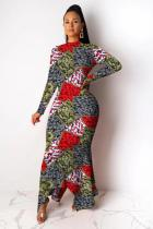 Camouflage Polyester Fashion adult OL Cap Sleeve Long Sleeves O neck Asymmetrical Ankle-Length asymmetrical Pri