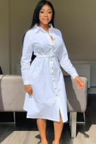 White Polyester Casual Shirt sleeves Long Sleeves Notched Step Skirt Mid-Calf Patchwork Solid