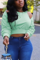 Light Green Casual Polyester Solid O Neck Tops
