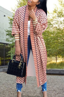Pink Daily Polyester Twilled Satin Print Cardigan O Neck Outerwear