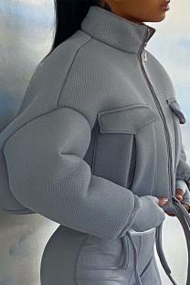 Grey Casual Solid Mandarin Collar Outerwear