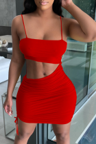 Red Sexy Solid Hollowed Out Spaghetti Strap Pencil Skirt Dresses