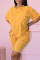 Yellow Fashion Casual Solid Basic O Neck Short Sleeve Two Pieces