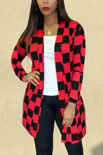 Red Casual Plaid Split Joint O Neck Outerwear