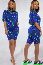 Blue knit Fashion Sexy adult Ma'am Patchwork Print Two Piece Suits Straight Short Sleeve Two Pieces