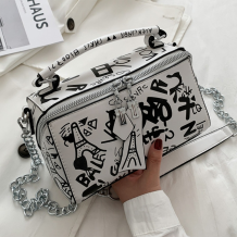 White Casual Street Patchwork Print Bags