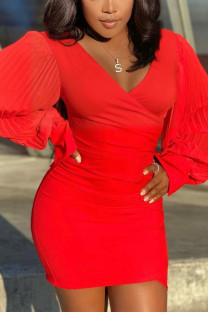 Red Sexy Solid Split Joint V Neck Wrapped Skirt Dresses