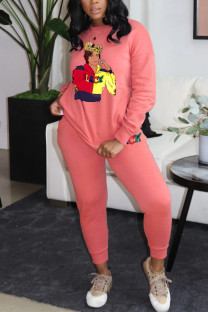 Pink Fashion Casual Print Basic O Neck Long Sleeve Two Pieces