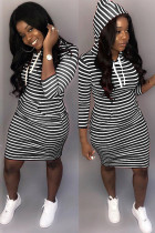 Black Polyester Fashion adult Casual Cap Sleeve 3/4 Length Sleeves O neck A-Line Knee-Length Striped Print
