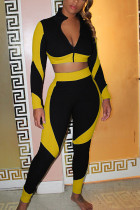 Yellow Casual Polyester Solid Split Joint O Neck Long Sleeve Regular Sleeve Short Two Pieces