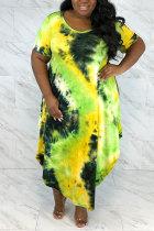 Yellow Polyester Fashion Sexy adult O Neck Patchwork Print Tie Dye Stitching Plus Size