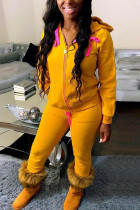 Yellow Fashion Casual Solid Basic Hooded Collar Long Sleeve Two Pieces