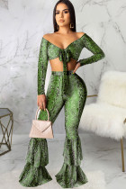 Green Polyester Sexy Print Patchwork Two Piece Suits Boot Cut Long Sleeve Two-piece Pants Set