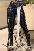Black Street Patchwork Draw String Skinny Mid Waist Speaker Bottoms