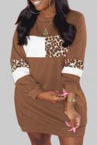 Khaki Casual Print Leopard Split Joint O Neck Straight Plus Size
