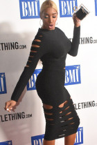 Black Sexy Fashion Cap Sleeve Long Sleeves O neck Hip skirt Knee-Length Two Piece Dresses