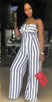 Stripe Wine Polyester Bandage Striped Fashion Jumpsuits & Rompers