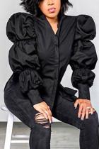Black Fashion Street Adult Polyester Solid Split Joint Mandarin Collar Tops
