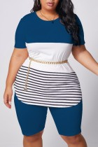 Peacock blue Polyester Fashion Casual adult Ma'am O Neck Striped Patchwork Two Piece Suits Stitching Plus Size