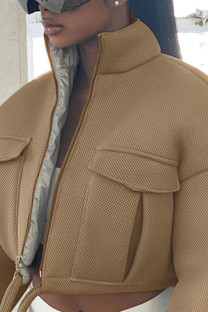 Khaki Casual Solid Mandarin Collar Outerwear