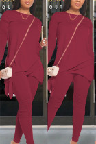Maroon Polyester Fashion Casual adult Ma'am Patchwork Solid Two Piece Suits pencil Long Sleeve Two Pieces