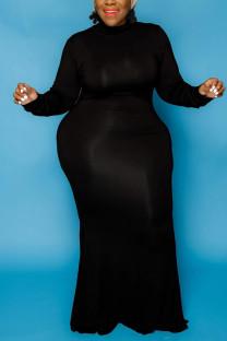 Black Fashion Casual Plus Size Solid Basic Turtleneck Long Sleeve Dress