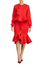 Red Fashion Long Sleeves O neck Mermaid Knee-Length ruffle Solid Two Piece Dresses
