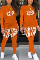 Orange Fashion Casual Adult Twilled Satin Print O Neck Long Sleeve Regular Sleeve Regular Two Pieces