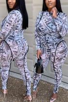 White Fashion Street Adult Twilled Satin Print Split Joint O Neck Plus Size