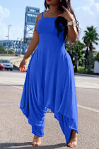 Blue Fashion Sexy Patchwork Solid Polyester Sleeveless Slip Jumpsuits