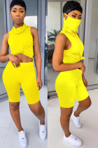 Yellow knit Fashion Sexy adult Ma'am Patchwork Solid Two Piece Suits Straight Sleeveless Two Pieces