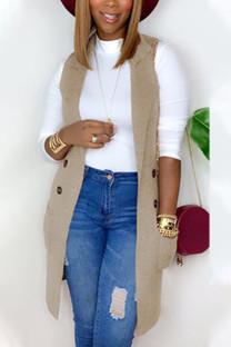 Khaki Fashion British Style Adult Polyester Solid Cardigan Turndown Collar Tops
