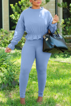 Blue Fashion Casual Adult Twilled Satin Solid Split Joint O Neck Long Sleeve Regular Sleeve Regular Two Pieces