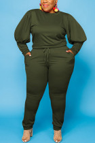 Army Green Sexy Solid O Neck Plus Size
