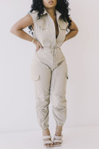 Gray White Fashion Casual Solid Basic Turndown Collar Regular Jumpsuits
