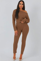 Coffee Cotton Elastic Fly Long Sleeve Mid Solid pencil Pants Two-piece suit