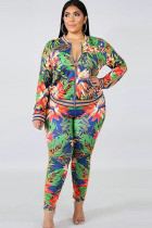 As Show Polyester Sexy O Neck Two Piece Suits Floral Zippered Print Pattern
