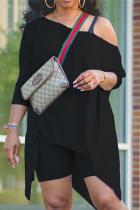 Black Casual Solid Asymmetrical One Shoulder Plus Size