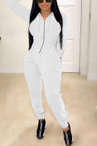 White Fashion Casual Adult Polyester Solid Draw String Hooded Collar Skinny Jumpsuits