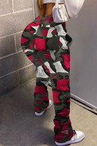 Red Street Camouflage Print Boot Cut Trousers