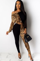 Black venetian Sexy Print Patchwork Two Piece Suits pencil Long Sleeve