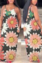 Brown Casual Spaghetti Strap Sleeveless Slip Pencil Dress Floor-Length Print Animal Dresses