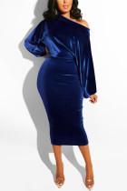 Deep Blue Fashion Casual Solid Basic Oblique Collar Long Sleeve Dress