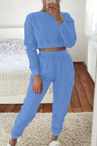 Baby Blue Fashion Casual Adult Polyester Solid Split Joint O Neck Long Sleeve Regular Sleeve Short Two Pieces
