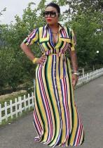 Yellow Casual Turn-down Collar Half Sleeve Loose Long Summer Dresses