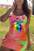 multicolor Polyester Sexy Europe and America Spaghetti Strap Sleeveless O neck Hip skirt skirt Print hole lip Dresses
