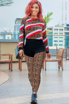 Red and white Polyester Street Patchwork Two Piece Suits Print pencil Long Sleeve