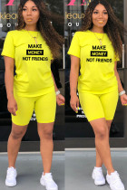 Yellow Fashion Active Print Two Piece Suits pencil Short Sleeve Two Pieces