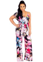rose Polyester Ruffles Bandage Print Casual Fashion Jumpsuits & Rompers