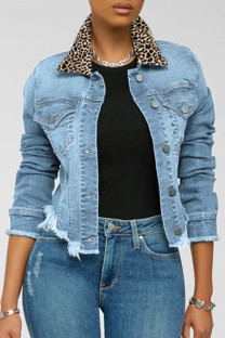 Light Blue Fashion Casual Leopard Split Joint Turndown Collar Long Sleeve Regular Denim Coats